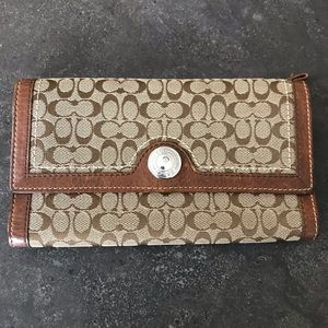 Coach Wallet in Brown Logo Fabric and Leather